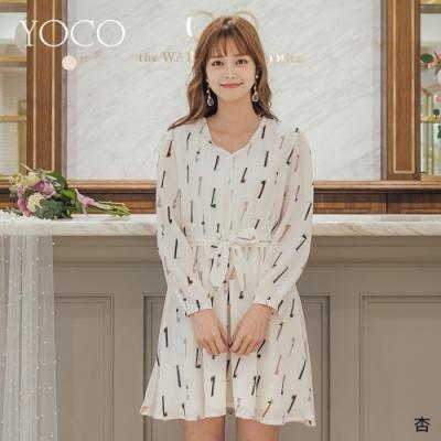 YOCO氣質優雅V領綁帶傘狀洋裝-S.M.L