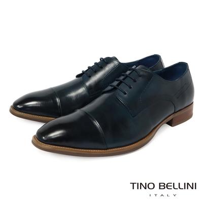 TINO BELLINI 男款 沉穩藍調牛皮繫帶紳士鞋