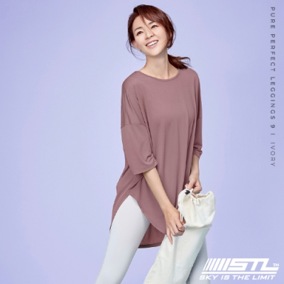 STL yoga FreshCrapeLyningLong 韓國瑜珈 運動機能 落肩7分袖長版上衣 乾燥玫瑰DryRose