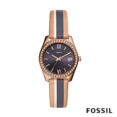 FOSSIL SCARLETTE MINI 米x藍x駝色復古條紋鑲鑽皮革女錶 32mm ES4594