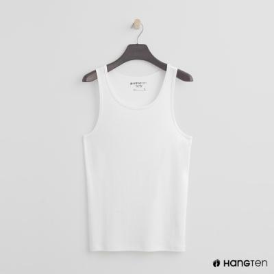 Hang Ten - 男裝 - 有機棉-簡約素色純面棉質背心 - 白