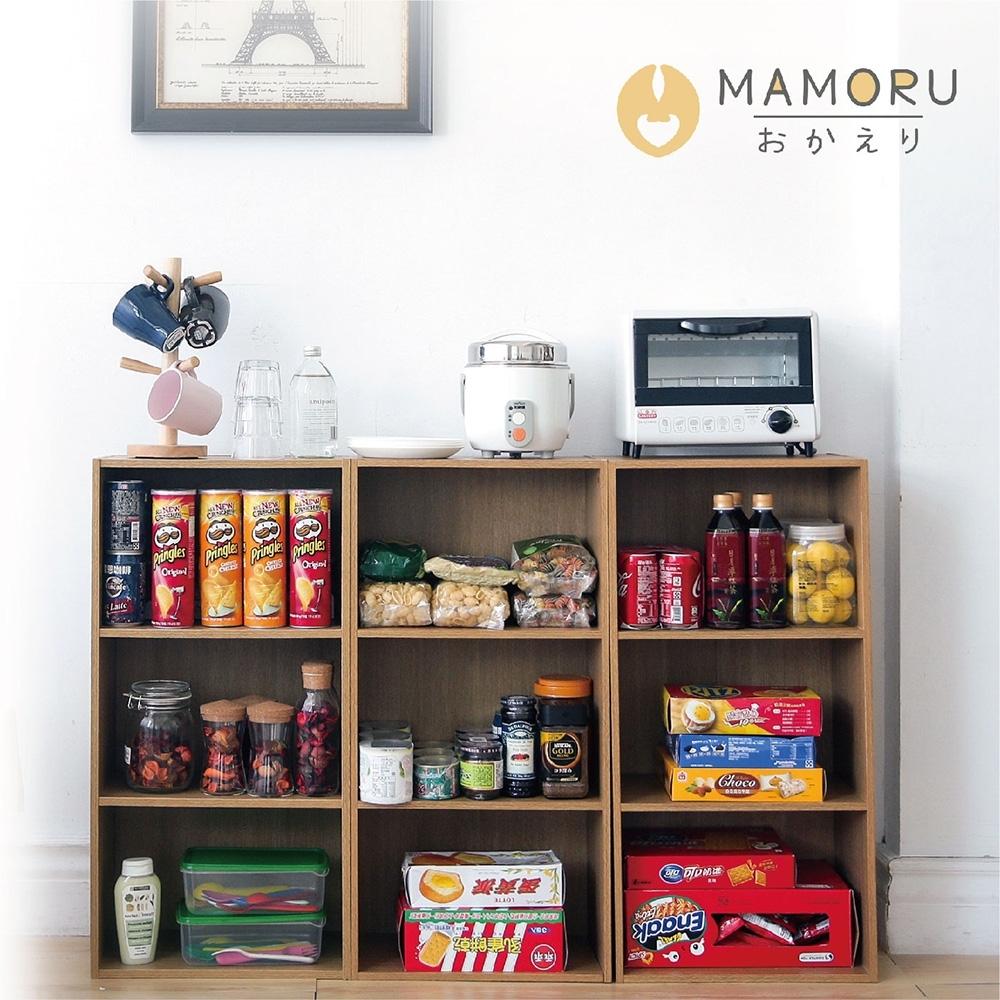 好購家居  日式簡約三層開放式木紋收納櫃