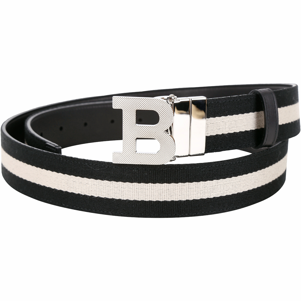 BALLY B BUCKLE 經典織紋雙面兩用皮帶(黑色)