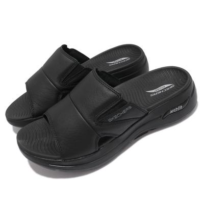 Skechers 拖鞋 Go Walk Arch Fit 男鞋 休閒 專利鞋墊 避震 緩衝 外出 輕便 黑 229023BBK