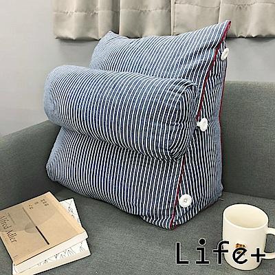 Life Plus 簡單生活舒壓萬用靠枕/抱枕/腰靠枕 (紅邊藍條P)