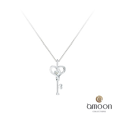 amoon 戀戀東京系列 鎖愛 K金鑽石墜子-白 送項鍊