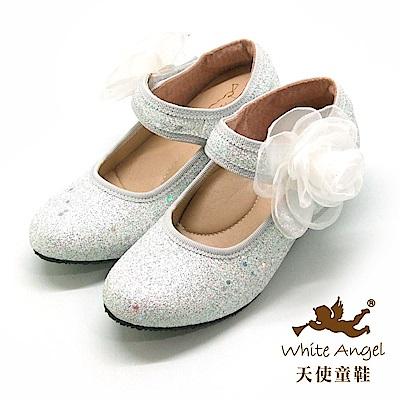 天使童鞋 亮麗玫瑰冰晶高跟鞋 J891-白
