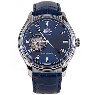 ORIENT 羅馬時標 半鏤空機械腕錶(FAG00004D0)-藍/43mm