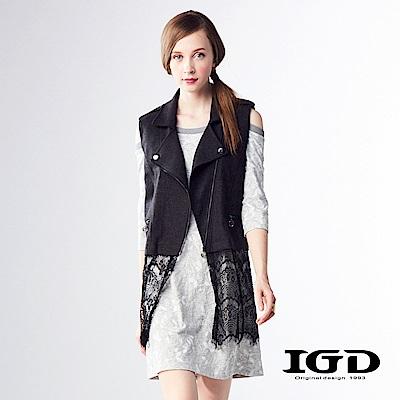 IGD英格麗 悠閒風花朵布紋羊毛五分袖造型洋裝-灰色