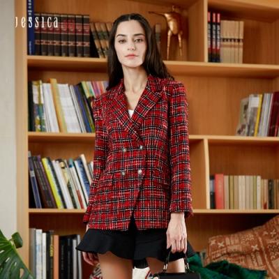 JESSICA RED - 西裝領雙排扣時尚百搭格紋粗花呢外套(紅)