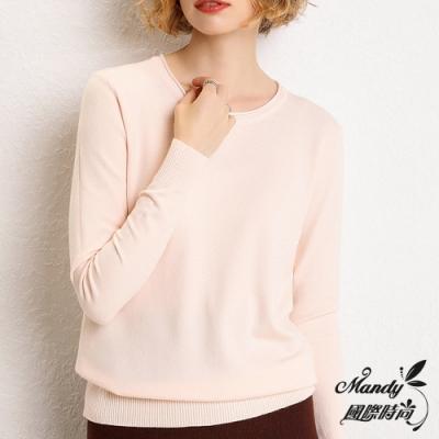 Mandy國際時尚 長袖上衣 純色薄款寬鬆圓領長袖針織上衣(9色)