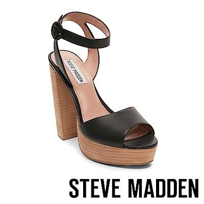 STEVE MADDEN-MADELINE復古性感魚口真皮粗跟涼鞋-黑色