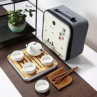 原藝坊 陶瓷乾泡旅行茶具套裝組(兩色任選)