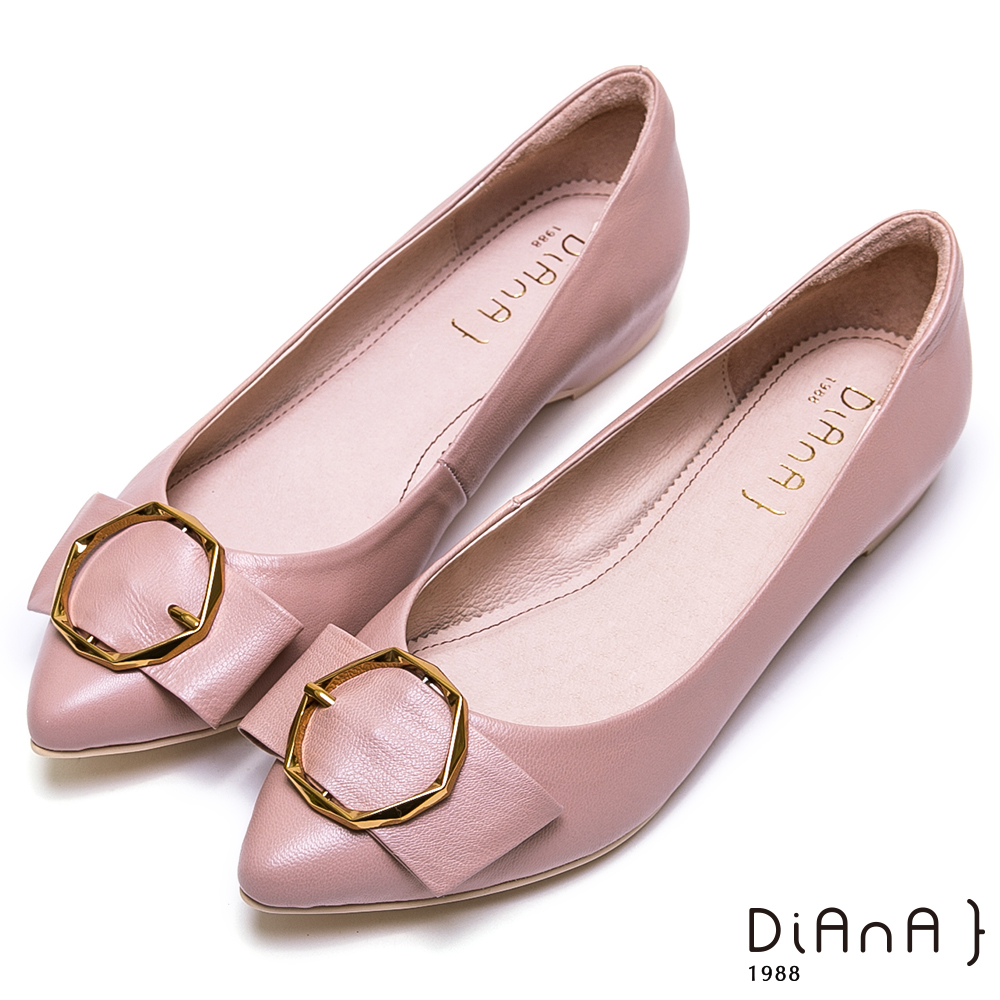 DIANA質感幾何金釦穿帶真皮鞋-大方氣質-粉