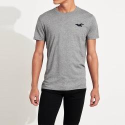 海鷗 Hollister 年度限量經典刺繡大海鷗圓領素面短袖T恤-麻灰色