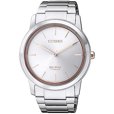 CITIZEN 光動能鈦金時尚手錶(AW2024-81A)-銀/41mm