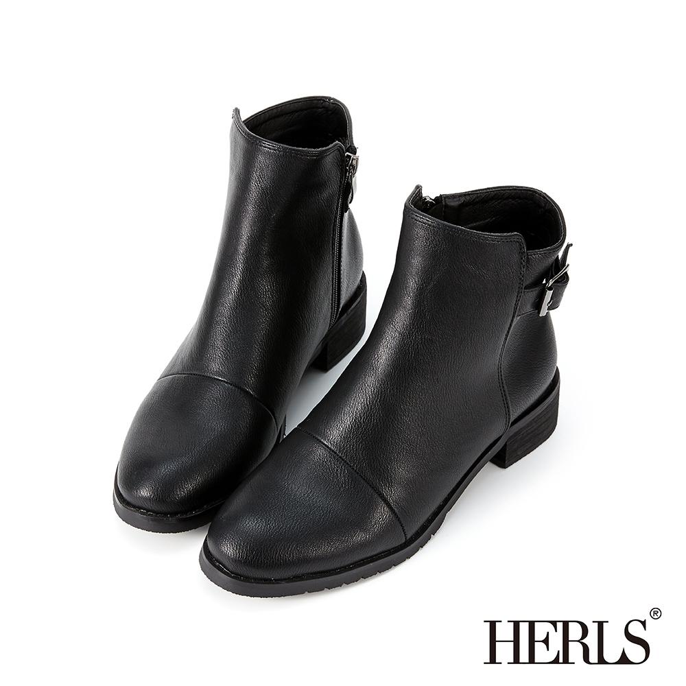 HERLS短靴-皮帶釦拉鍊圓頭皮革粗跟短靴-黑色