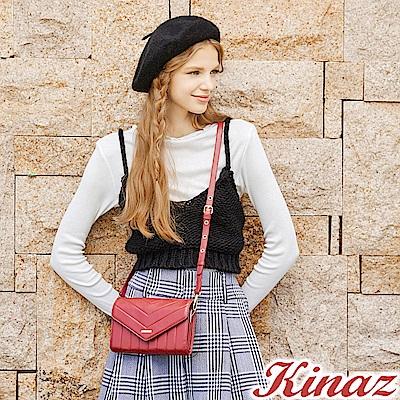 KINAZ 愛戀幾何多用斜背包-迷情紅-城市輕旅系列-快