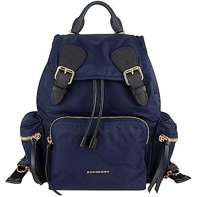 BURBERRY The Rucksack藍色尼龍皮飾邊鍊帶後背包