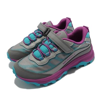 Merrell 戶外鞋 Moab Speed Waterproof 童鞋 魔鬼氈 緩震 能量反饋 耐磨抓地 灰 銀 MK165211