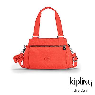 Kipling 手提包 螢光澄素面 -中