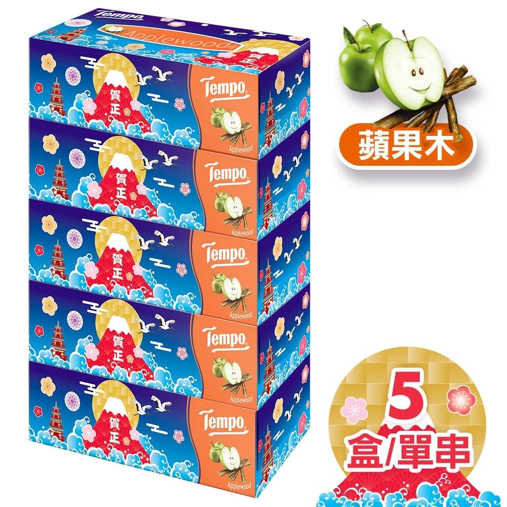 Tempo三層盒裝面紙蘋果木 賀年招財限量版86抽x5盒/串