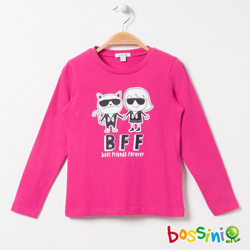 bossini女童-印花長袖T恤04玫瑰色