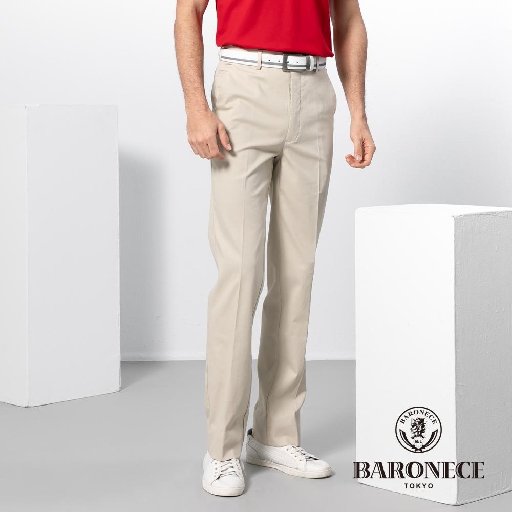 BARONECE 百諾禮士休閒商務  男裝 修身版暗紋彈性平口休閒褲-米卡色(1188892-82)