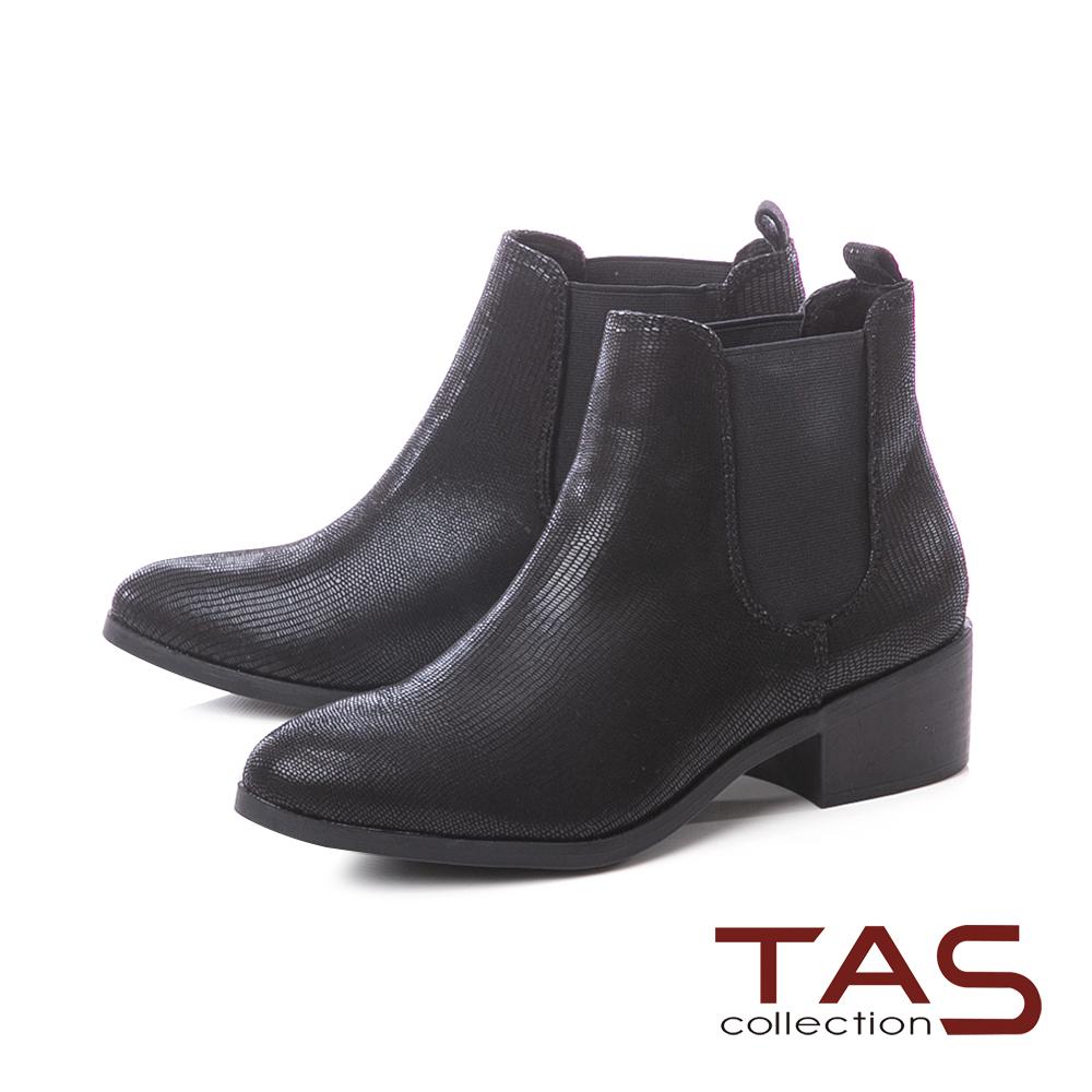 TAS素面質感側鬆緊帶粗跟短靴-實搭黑