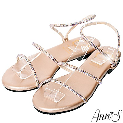 Ann'S海洋之星-漸層幻彩鑽石平底涼鞋-玫瑰金