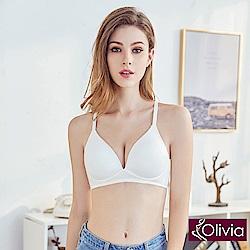 Olivia 無鋼圈3D輕巧美背三角杯內衣-白色