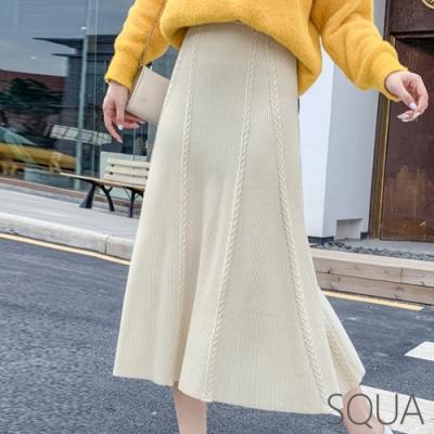 SQUA 麻花辮編織半身裙 -三色-F