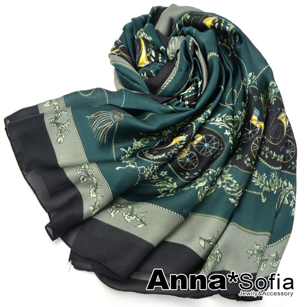 【滿額再75折】AnnaSofia 瀲灩宮廷風 亮緞面仿絲披肩絲巾圍巾(綠黑系)