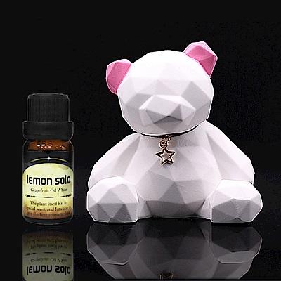 [時時樂限定]日本香氛幾何熊+lemon solo純植物精油5ml(隨機贈品