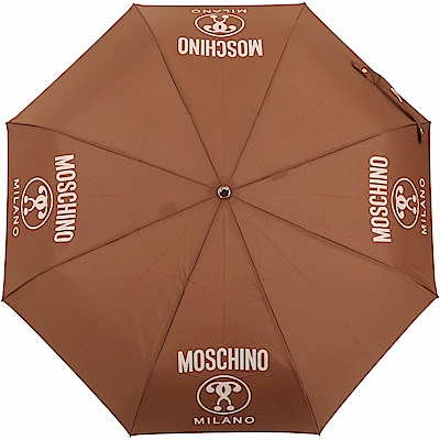 MOSCHINO 附金屬字母傘套自動摺疊晴雨傘(咖啡色)