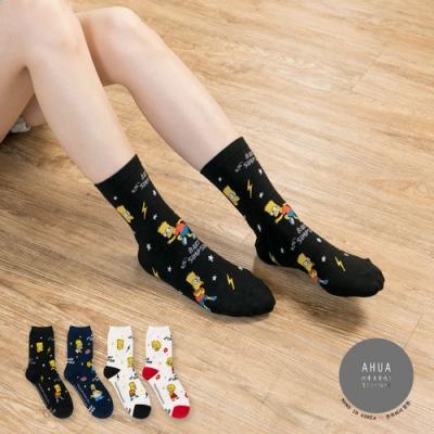 阿華有事嗎  韓國襪子 滿版辛普森人物中筒襪  韓妞必備 正韓百搭純棉襪