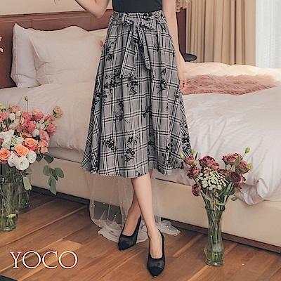 東京著衣-yoco 微熟美學格織紋印花腰綁帶鬆緊傘擺裙-S.M.L(共一色)