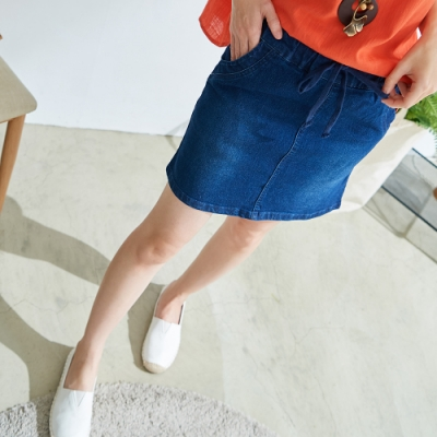 慢 生活 彈力雙層牛仔褲裙- 深藍