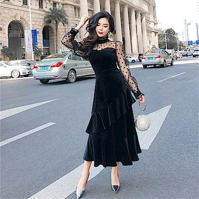 DABI 韓系氣質圓領波點網紗拼接絲絨魚尾紋長袖洋裝