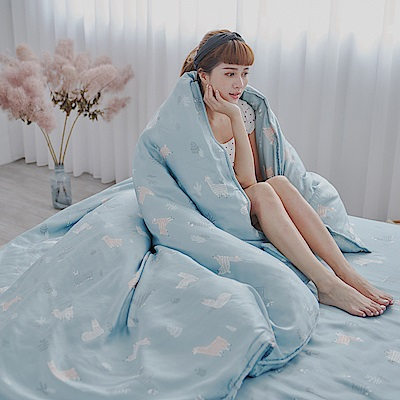 BUHO 100%TENCEL純天絲單人床包+雙人舖棉兩用被床包組(呆萌教主)
