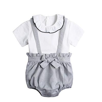 baby童衣 包屁衣吊帶套裝 蝴蝶結抓皺吊帶兔裝 90020