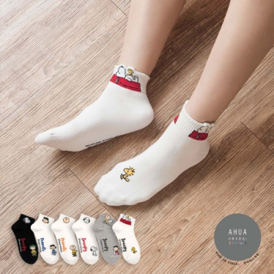阿華有事嗎  韓國襪子  史努比人物頭像中短襪  韓妞必備 正韓百搭純棉襪