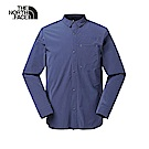 The North Face北面男款藍色防潑水運動長袖襯衫 3RKPH2G