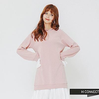H:CONNECT 韓國品牌 女裝-拼接設計長版帽T-粉
