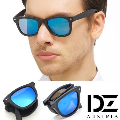 DZ 非凡品味摺疊式 防曬偏光 太陽眼鏡墨鏡(霧黑框冰藍膜)