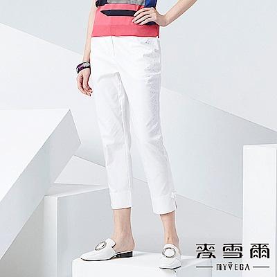 【麥雪爾】棉質純白側面水鑽八分褲