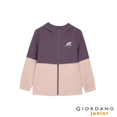 GIORDANO  童裝3M連帽運動外套 - 29 煙灰粉紅X烏梅紫
