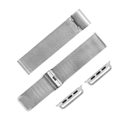 Apple Watch 蘋果手錶替用錶帶 米蘭編織不鏽鋼錶帶-銀色