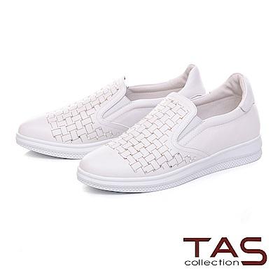 TAS 水鑽格紋編織素面牛皮休閒鞋-經典白