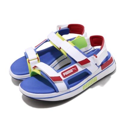 Puma 涼拖鞋 Future Rider Sandal 女鞋 輕便 舒適 明星款 撞色 魔鬼氈 穿搭 白 藍 37196402